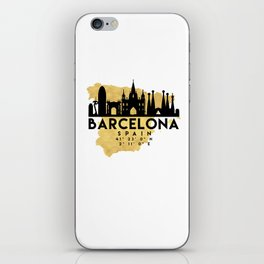 BARCELONA SPAIN SILHOUETTE SKYLINE MAP ART iPhone Skin