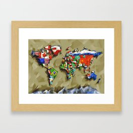 world map with flags vintage 2 Framed Art Print