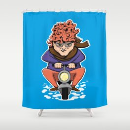Crazy Moto Grandma Shower Curtain