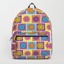Flower in Squares Backpack