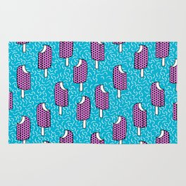 Bite Me - popsicle throwback 80s style memphis dots pattern trendy hipster summer ice cream Rug