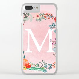 Flower Wreath with Personalized Monogram Initial Letter M on Pink Watercolor Paper Texture Artwork Clear iPhone Case