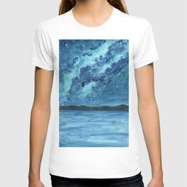 """Sea Glass Galaxy"" watercolor landscape painting T-shirt"