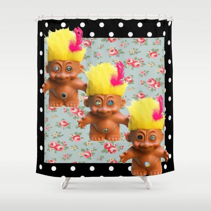 Mentalembellisher Mad Eyed Troll Triplets Flowers Polka Dots Shower Curtain