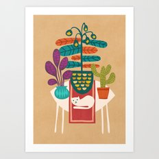 Indoor garden with cat Art Print