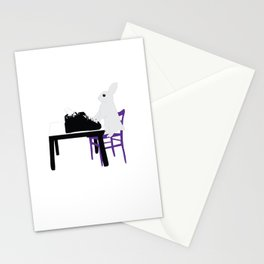 A Bunny's Life, animal gift, typing bunny, animal lover gift, bunny gift Stationery Cards