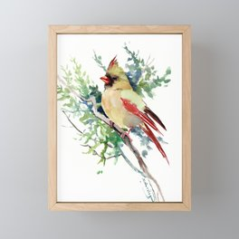 Cardinal Bird Artwork, female cardinal bird Framed Mini Art Print
