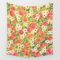 minnie Wall Tapestries featuring Minnie (Painted Flower Pattern) by Mari Orr (@meandering_mari)