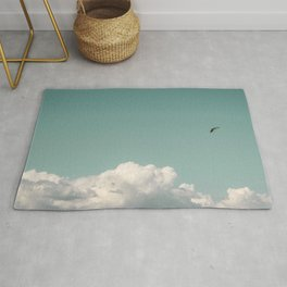 Mint Skies and White Fluffy Clouds #1 Rug