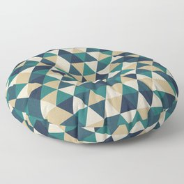 Foggy Petrol and Blue - Hipster Geometric Triangle Pattern Floor Pillow