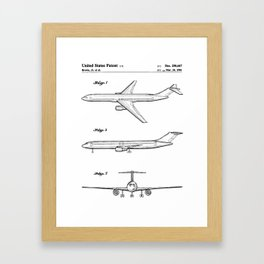 Boeing 777 Airliner Patent - 777 Airplane Art - Black And White Framed Art Print