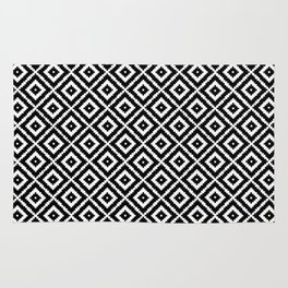 Geometry Square Pattern Black White Rug