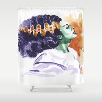 bride Shower Curtains featuring Bride by kenmeyerjr