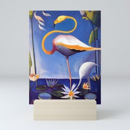Flamingo and Egret with Lilies and Calla Lilies by Joseph Stella Mini Art Print