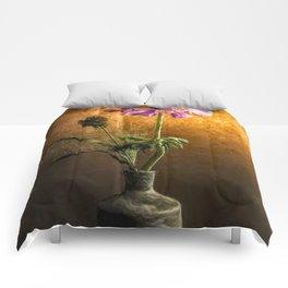 Flower in vase - oil painting by Brian Vegas Comforters