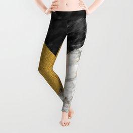 Gold foil white black marble #4 Leggings