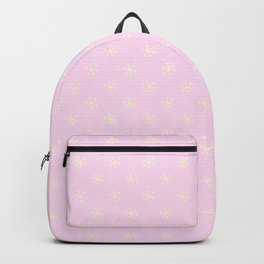 Cream Yellow on Pink Lace Snowflakes Backpack
