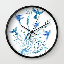 Jellyfish and Birds Abstract Ocean Wall Clock