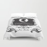 jane austen Duvet Covers featuring Jane Austen Snarky Quote by ArtSoElectric