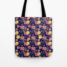 Midnight // Pink and Yellow Floral Pattern Tote Bag