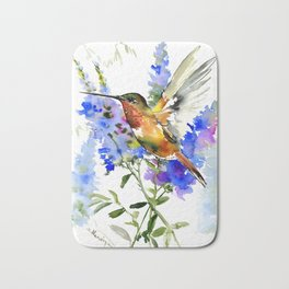 Alen's Hummingbird and Blue Flowers, floral bird design birds, watercolor floral bird art Bath Mat
