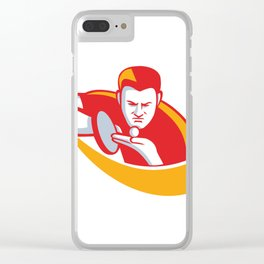 Table Tennis Player Serving Mascot Clear iPhone Case