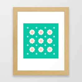 White and pink flowers with blue dots on turquoise background Framed Art Print
