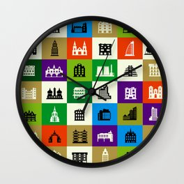 Silhouettes of city buildings Wall Clock