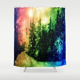 Galaxy Forest Rainbow Snow Shower Curtain