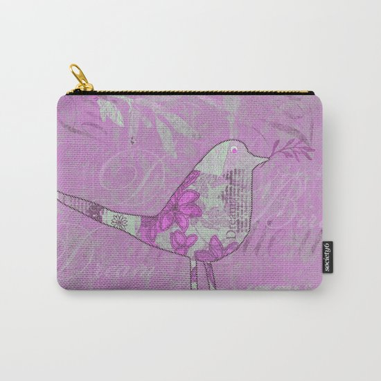 pink bird typography collage Carry-All Pouch
