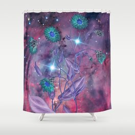 Space Flowers Shower Curtain