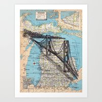 michigan Art Prints featuring Michigan by Ursula Rodgers