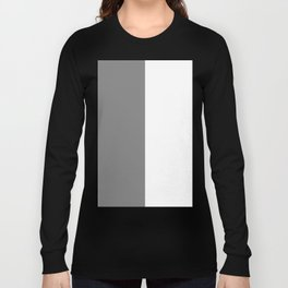 White and Gray Vertical Halves Long Sleeve T-shirt