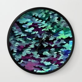 Foliage Abstract Pop Art In Teal, Blue and Green Wall Clock