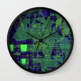 Random messy green glass on blue innocent background Wall Clock