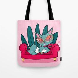 Blue Kitty Tote Bag