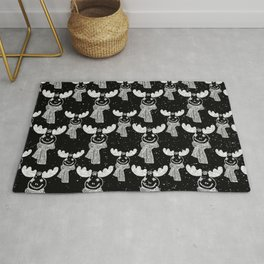 Funny Moose in Winter Snow on Black - Wild Animals - Mix & Match with Simplicity of Life Rug