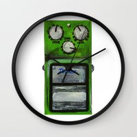 "u2 Wall Clocks featuring Ibanez TS-9 Tube Screamer Guitar Pedal acrylics on 5"" x 7"" canvas board by James Peart"