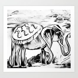 Elephant - Black and White Zen Safari Art Print