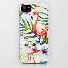 Fancy Tropical Flamingos iPhone Case
