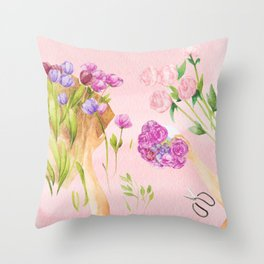 Flower Arranging Watercolor Painting Throw Pillow