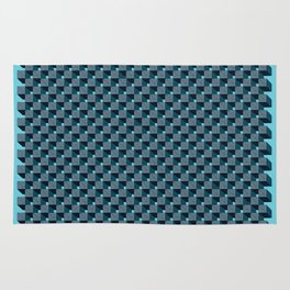 3D Cube Drawing Pattern - Blue & Green Rug