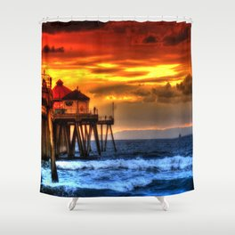 Northside Huntington Beach Pier Shower Curtain