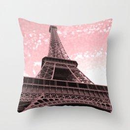Paris Pink Eiffel Tower Throw Pillow