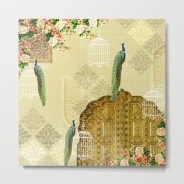 Mughal Garden In India - Peacock In Door Print Metal Print