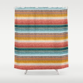 serape southwest stripe - orange & teal Shower Curtain