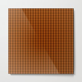Dark Pumpkin Orange and Black Gingham Check Pattern Metal Print