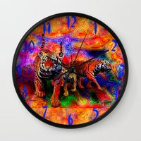 tigers Wall Clocks featuring Psychedelic Tigers by JT Digital Art
