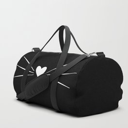 Cat Heart Nose & Whiskers White on Black Duffle Bag