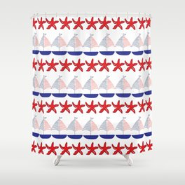 Nautical Pattern Small Sailboats and Starfishes Shower Curtain